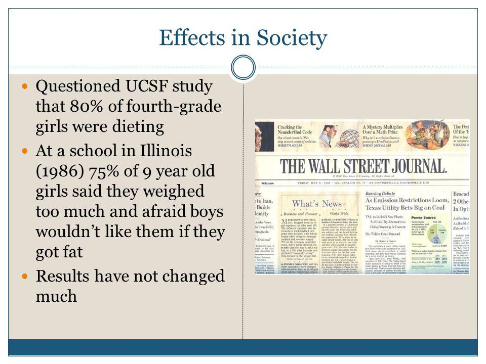 Effects in Society Questioned UCSF study that 80% of fourth-grade girls were dieting.