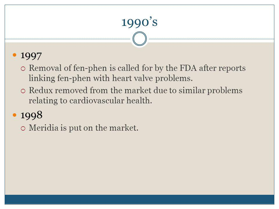 1990's 1997. Removal of fen-phen is called for by the FDA after reports linking fen-phen with heart valve problems.
