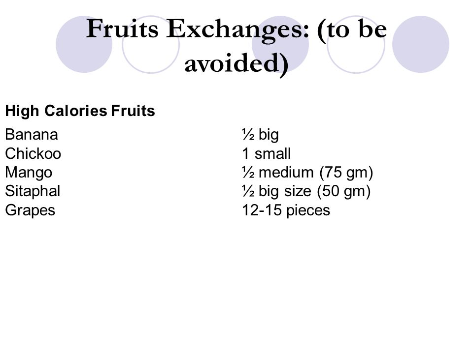 Fruits Exchanges: (to be avoided)