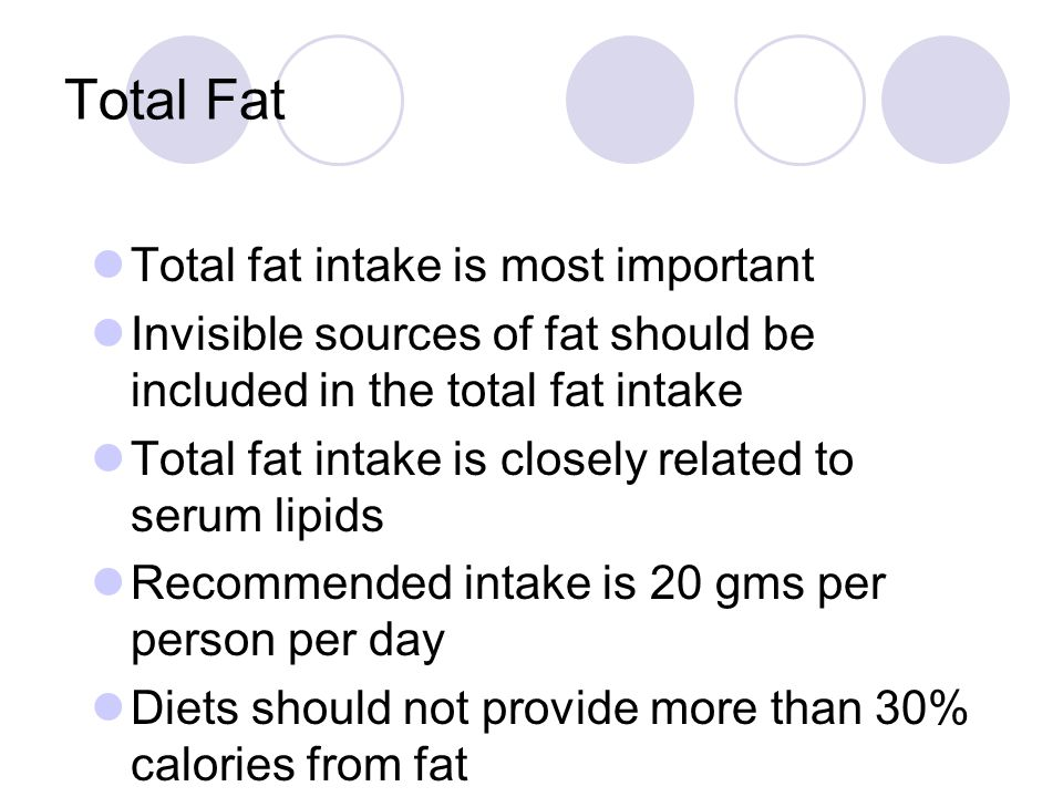 Total Fat Total fat intake is most important
