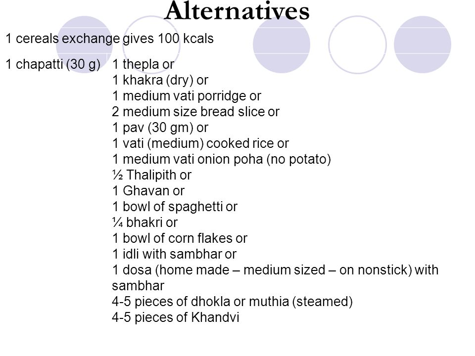 Alternatives 1 cereals exchange gives 100 kcals 1 chapatti (30 g)