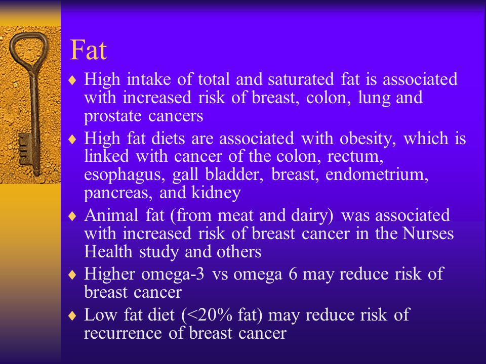 Fat High intake of total and saturated fat is associated with increased risk of breast, colon, lung and prostate cancers.