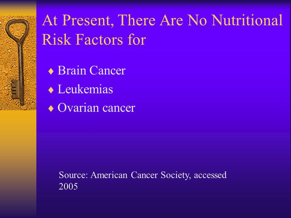 At Present, There Are No Nutritional Risk Factors for