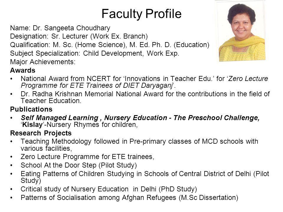 Faculty Profile Name: Dr. Sangeeta Choudhary