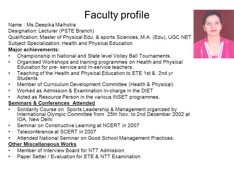 Faculty profile Name : Ms.Deepika Malhotra