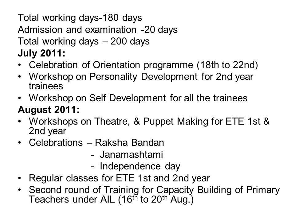 Total working days-180 days