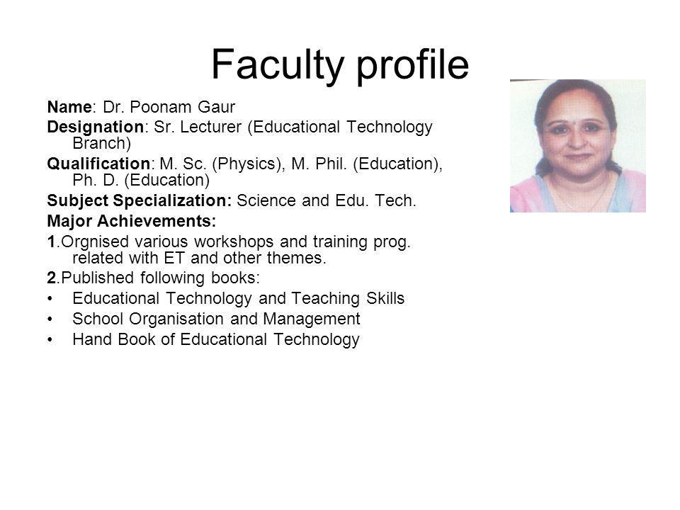 Faculty profile Name: Dr. Poonam Gaur