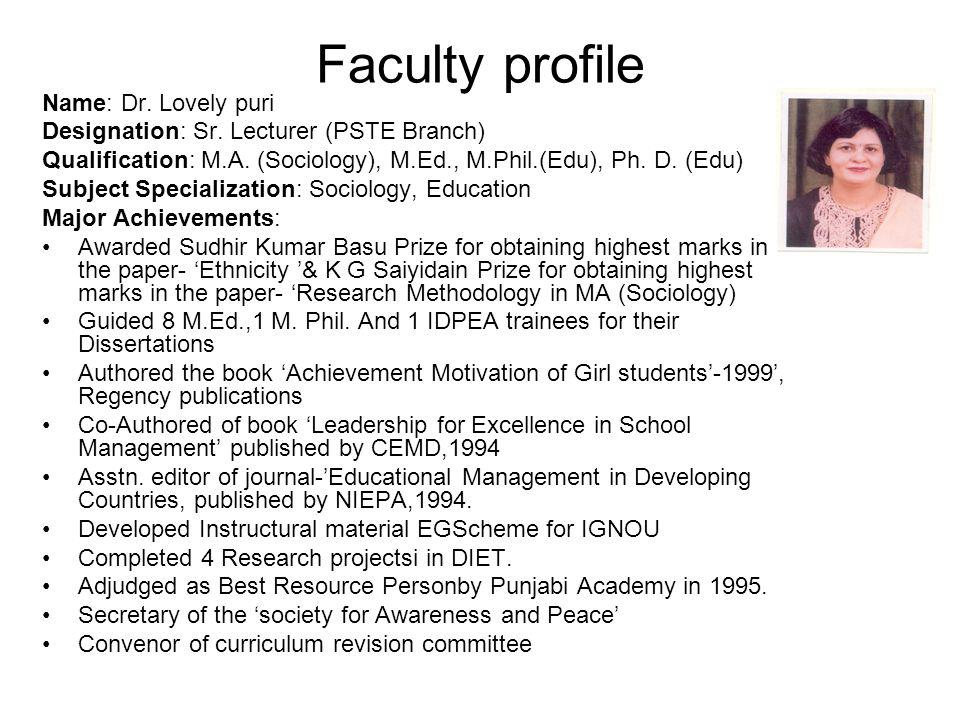 Faculty profile Name: Dr. Lovely puri
