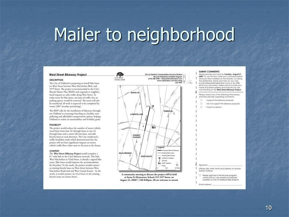 Mailer to neighborhood