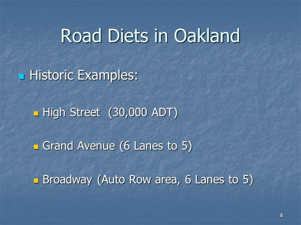 Road Diets in Oakland Historic Examples: High Street (30,000 ADT)