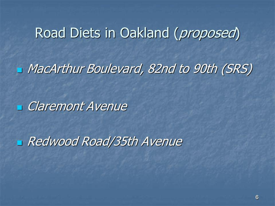 Road Diets in Oakland (proposed)