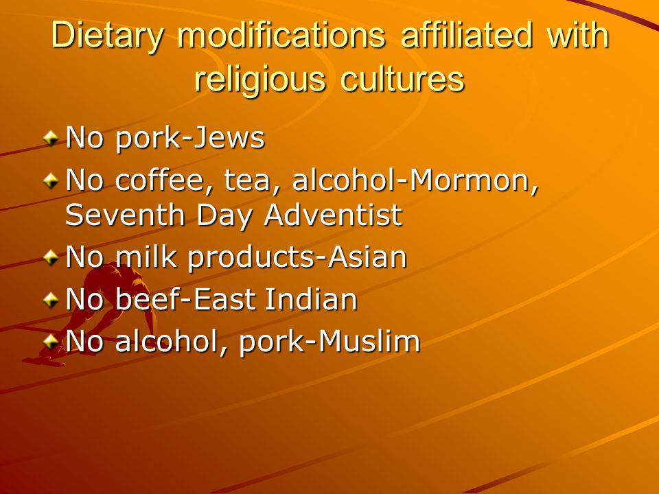 Dietary modifications affiliated with religious cultures