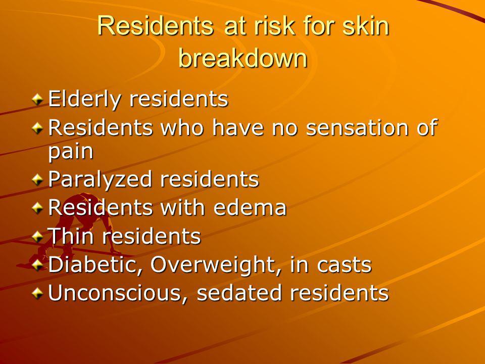 Residents at risk for skin breakdown
