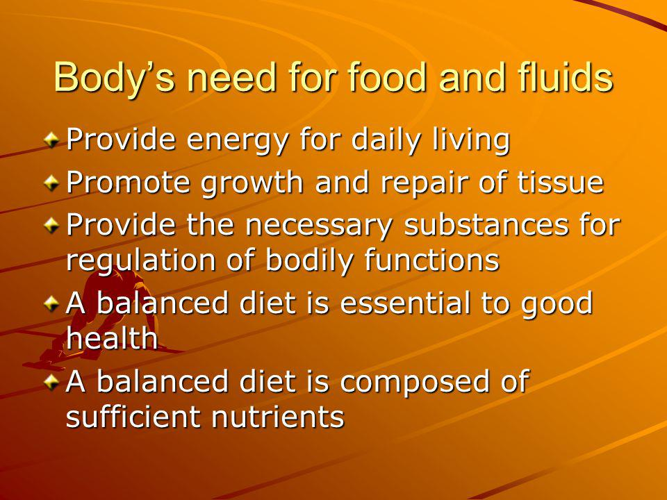 Body's need for food and fluids