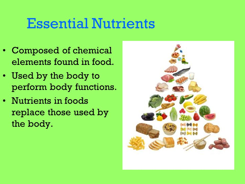 Essential Nutrients Composed of chemical elements found in food.