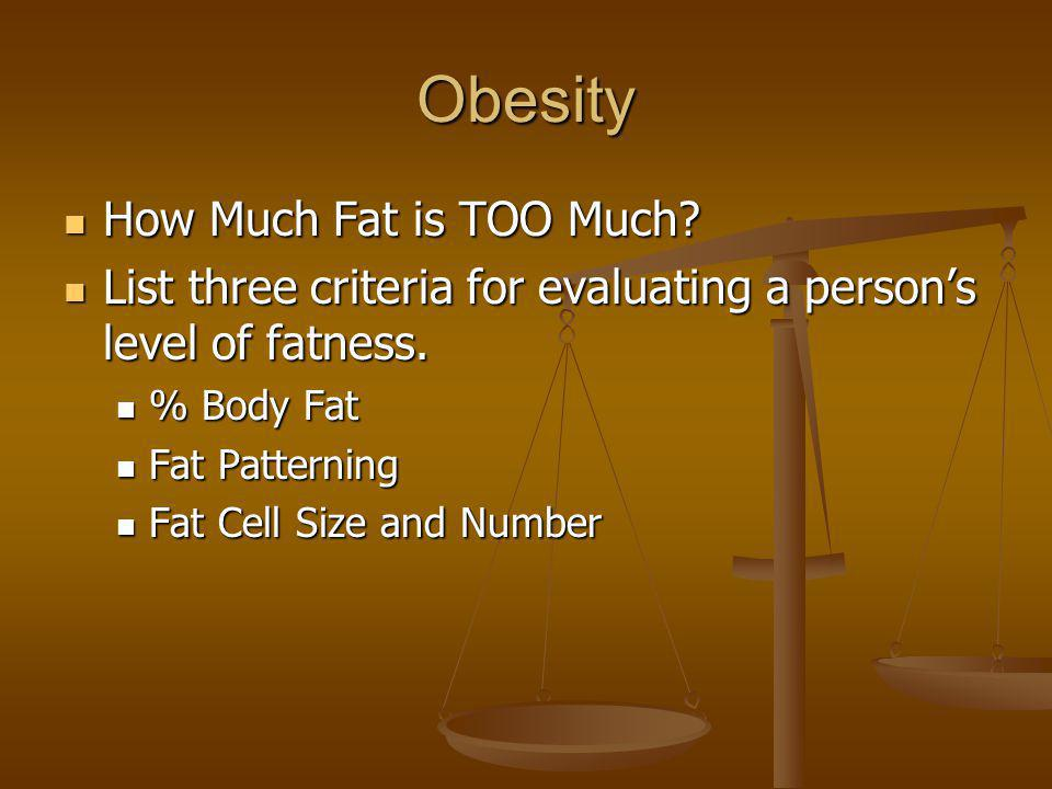 Obesity How Much Fat is TOO Much