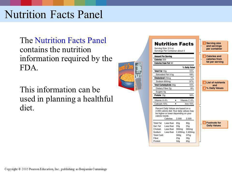 Nutrition Facts Panel The Nutrition Facts Panel contains the nutrition information required by the FDA.