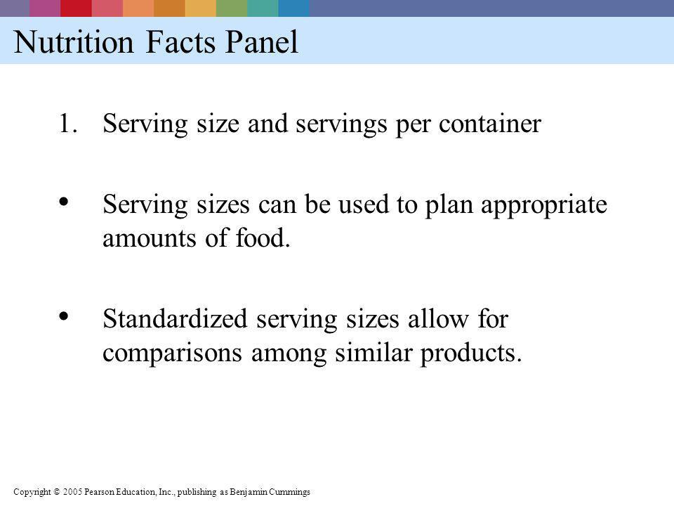 Nutrition Facts Panel Serving size and servings per container
