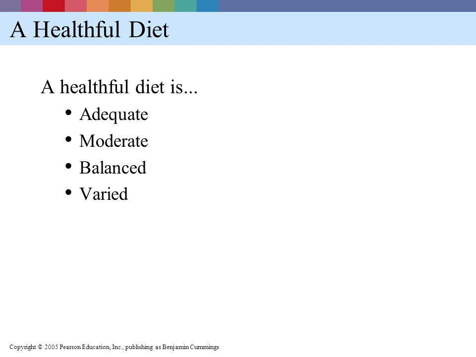 A Healthful Diet A healthful diet is... Adequate Moderate Balanced