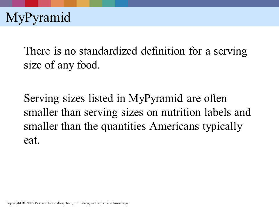 MyPyramid There is no standardized definition for a serving size of any food.