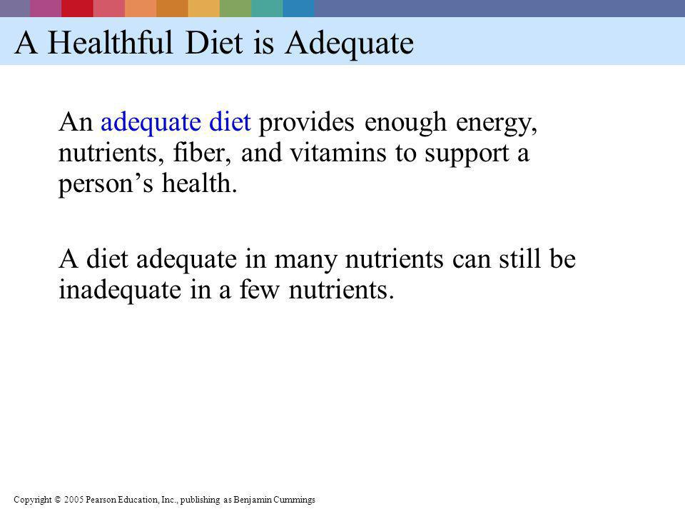 A Healthful Diet is Adequate