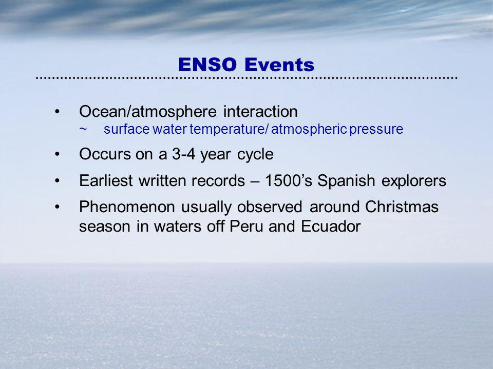 ENSO Events Ocean/atmosphere interaction Occurs on a 3-4 year cycle