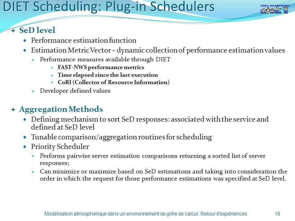 DIET Scheduling: Plug-in Schedulers