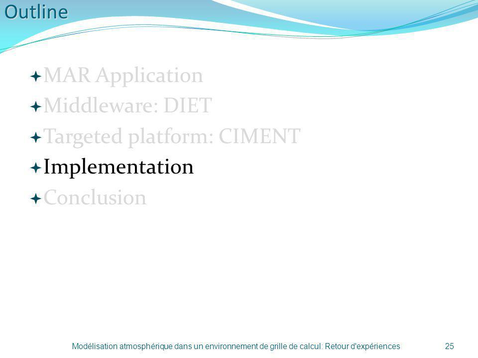 Targeted platform: CIMENT Implementation Conclusion