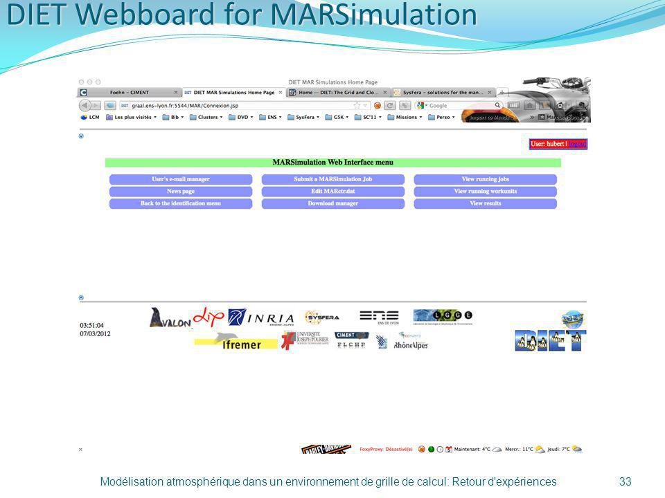 DIET Webboard for MARSimulation