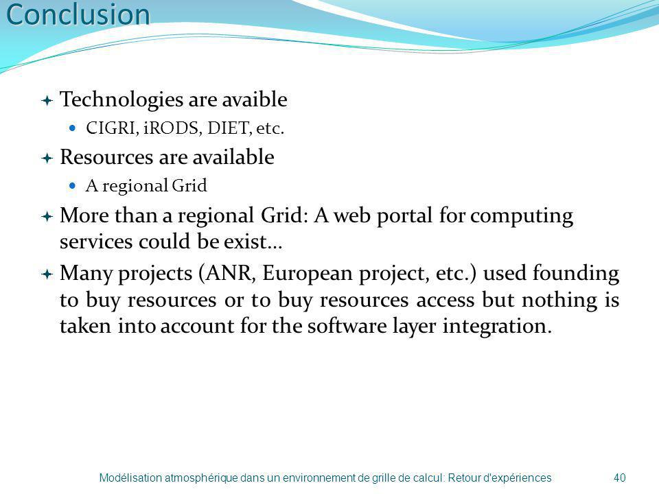 Conclusion Technologies are avaible Resources are available