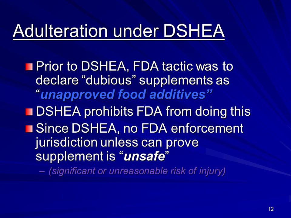 Adulteration under DSHEA