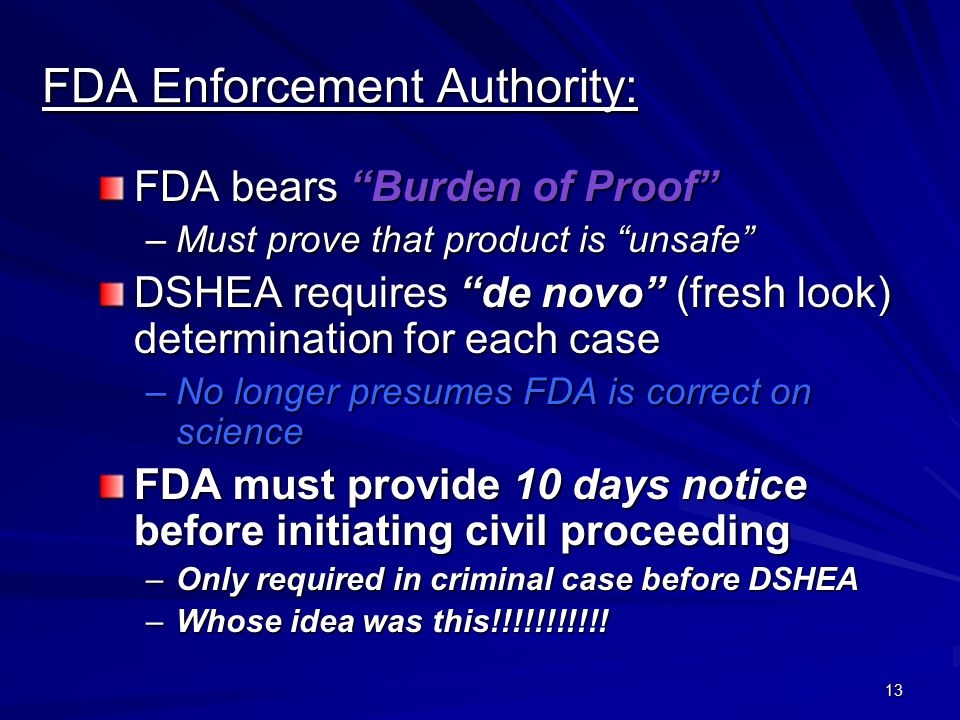FDA Enforcement Authority: