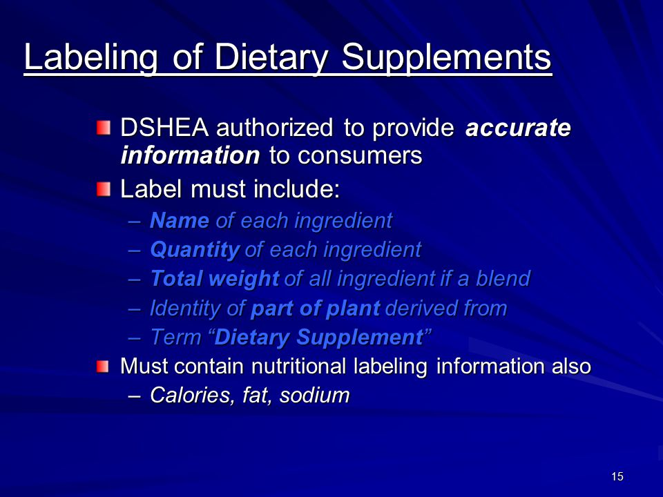 Labeling of Dietary Supplements