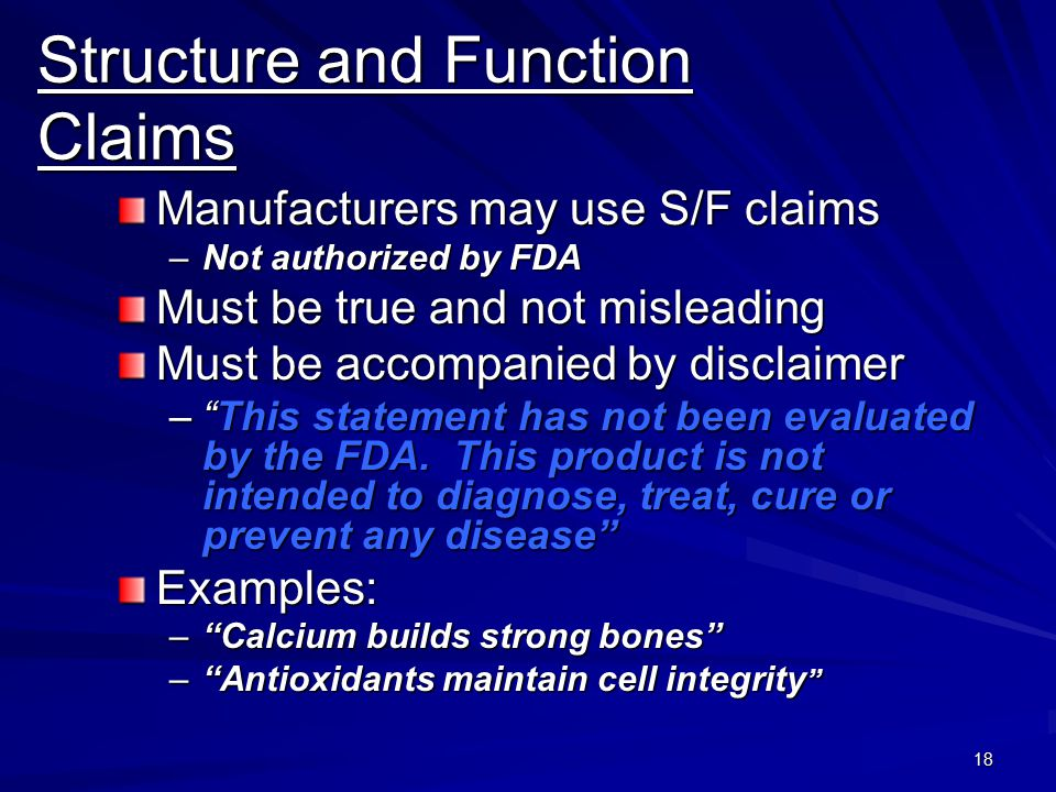 Structure and Function Claims