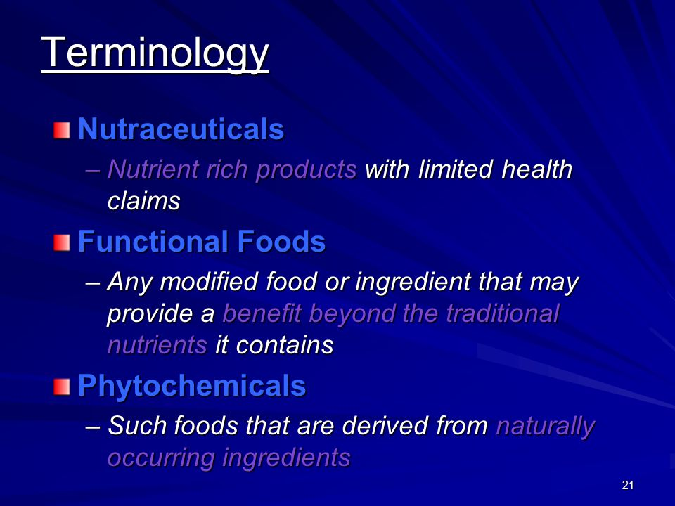 Terminology Nutraceuticals Functional Foods Phytochemicals