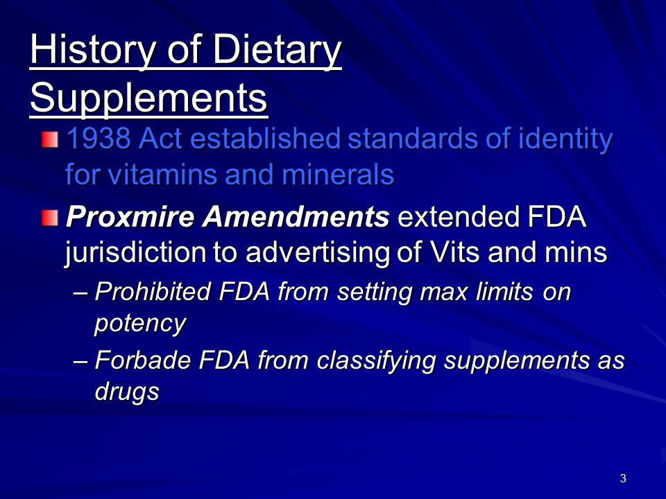 History of Dietary Supplements