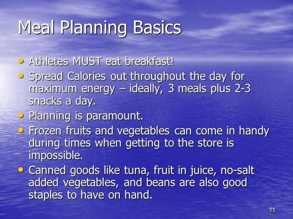 Meal Planning Basics Athletes MUST eat breakfast!