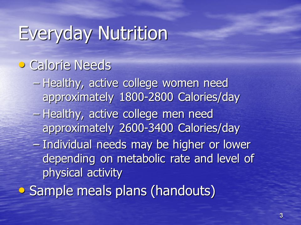 Everyday Nutrition Calorie Needs Sample meals plans (handouts)
