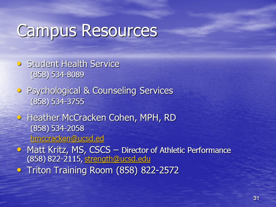 Campus Resources Student Health Service