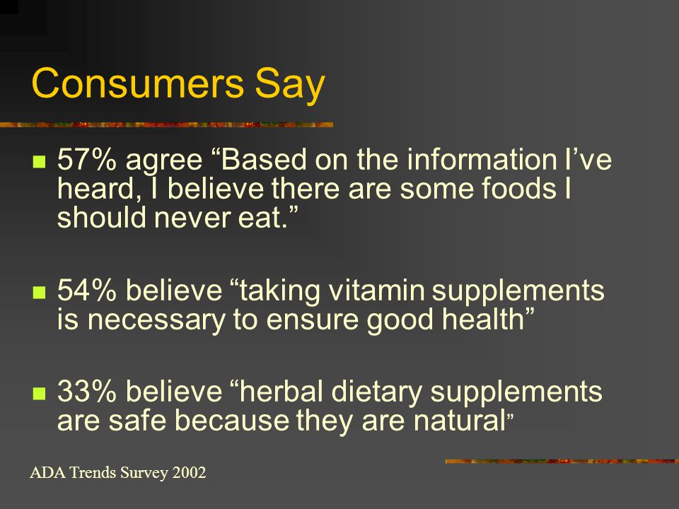 Consumers Say 57% agree Based on the information I've heard, I believe there are some foods I should never eat.