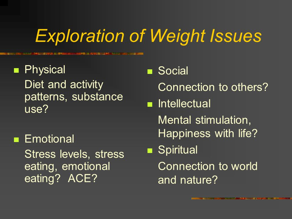 Exploration of Weight Issues