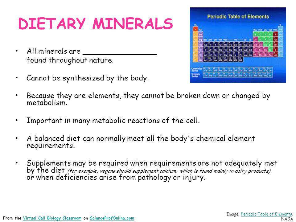 DIETARY MINERALS All minerals are ________________