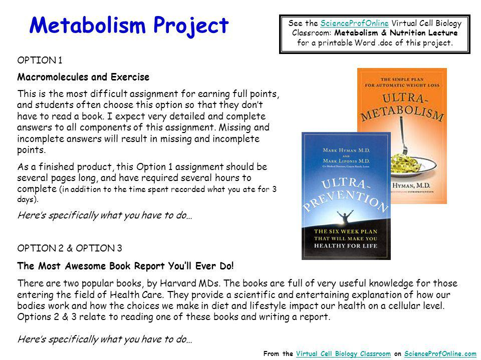 Metabolism Project OPTION 1 Macromolecules and Exercise