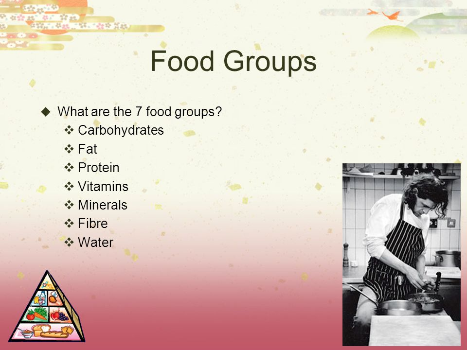 Food Groups What are the 7 food groups Carbohydrates Fat Protein