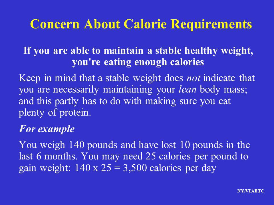 Concern About Calorie Requirements