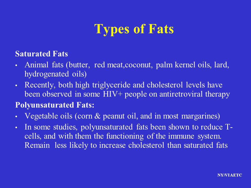 Types of Fats Saturated Fats
