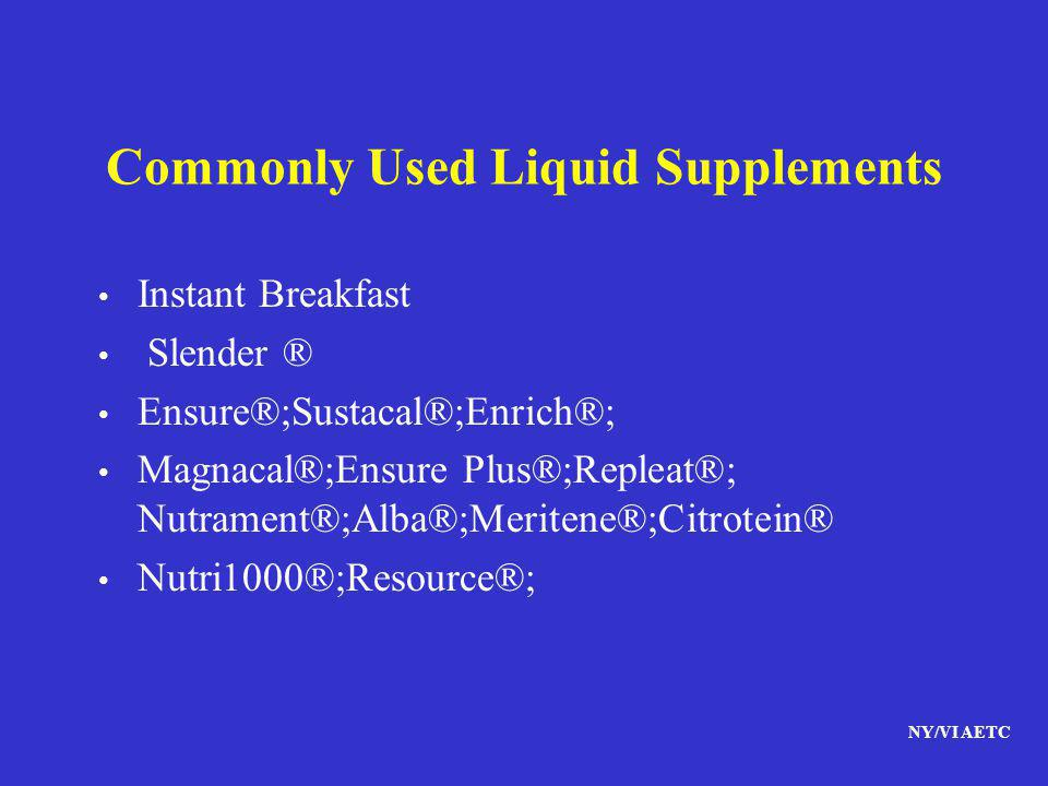 Commonly Used Liquid Supplements