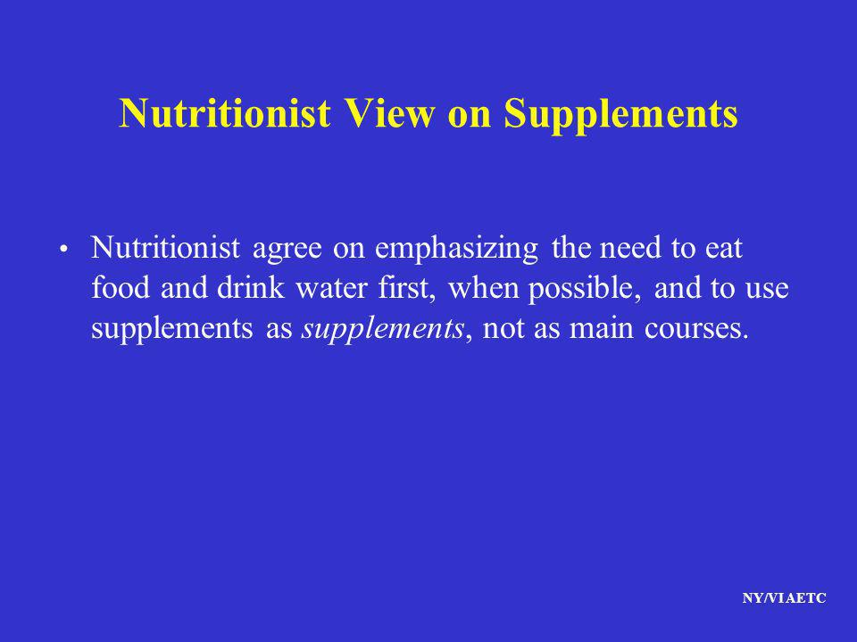 Nutritionist View on Supplements