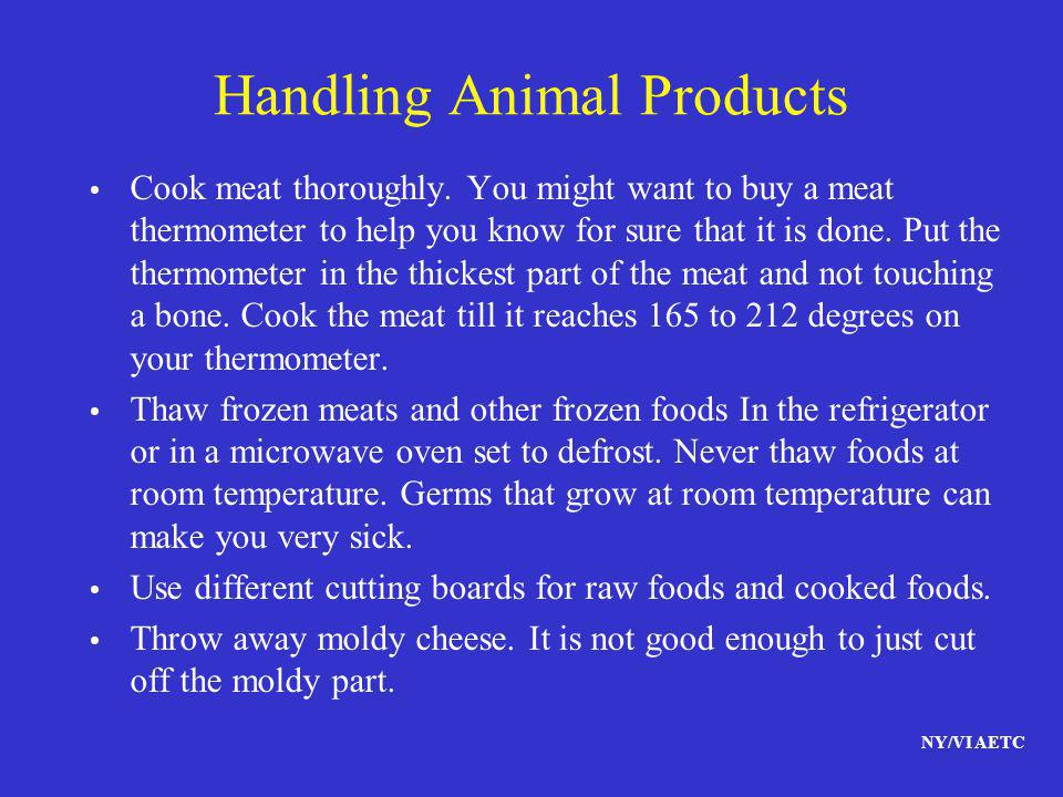 Handling Animal Products