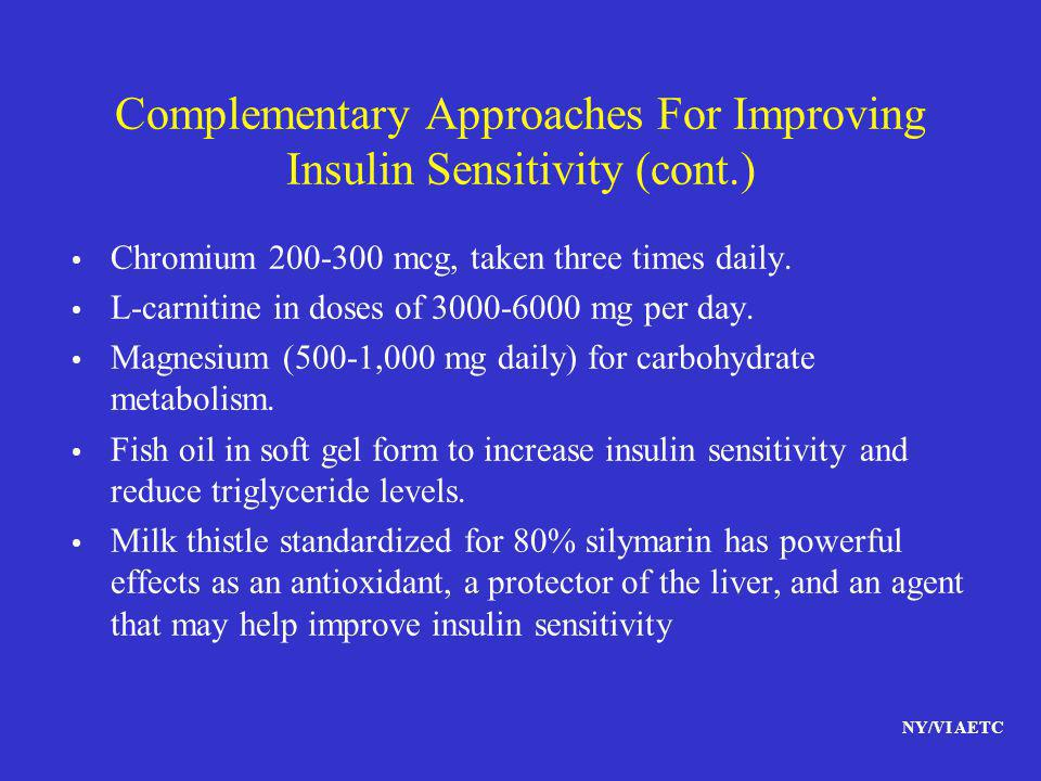 Complementary Approaches For Improving Insulin Sensitivity (cont.)